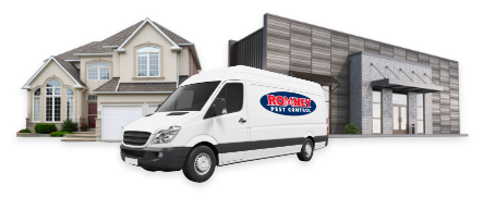 romney pest control van serving residential and commercial buildings
